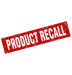 Square grunge red product recall stamp vector