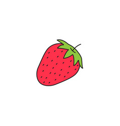 Strawberry solid line icon healthy fruit vector