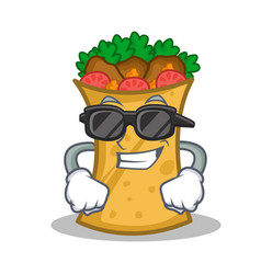 Super cool kebab wrap character cartoon vector