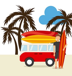 surfing hawaii vector image