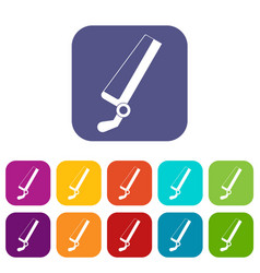 Surgical saw icons set flat vector