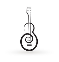 swirly guitar isolated white background vector image
