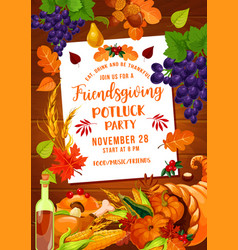 thanksgiving friendsgiving potluck with cornucopia vector image