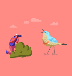 tiny female ornithologists character photographing vector image