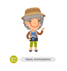 Traveler photographer cartoon character vector