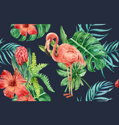 tropical pattern flower watercolor thanks card vector image