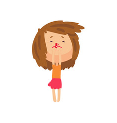 Unhappy girl with bleeding nose cartoon character vector
