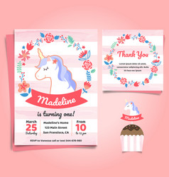 Unicorn little pony theme birthday invitation vector