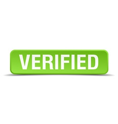 Verified green 3d realistic square isolated button vector