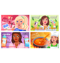 video bloggers set beautiful young women creating vector image