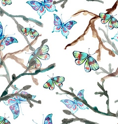 Watercolor seamless background with butterfly vector image