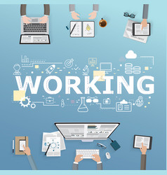 working icons for business in office design vector image