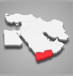 yemen country location within middle east 3d map vector image