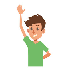 Young boy teen hand up smile vector