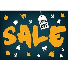 Big brush style sale with shopping icons on dark vector image vector image