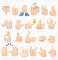 set of cartoon hands icons and symbols emoji hand vector image