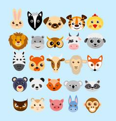set of cute cartoon animals vector image vector image