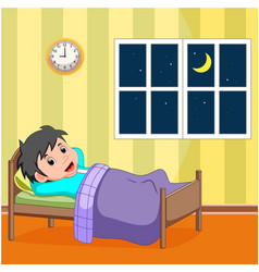 smile little boy sleeping in the bed vector image