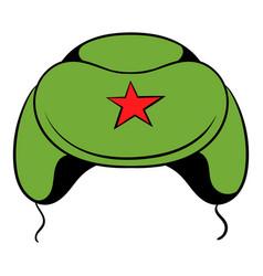 Soviet military cap earflaps icon cartoon vector
