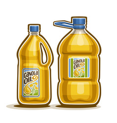 2 big yellow plastic bottles with canola oil vector image vector image