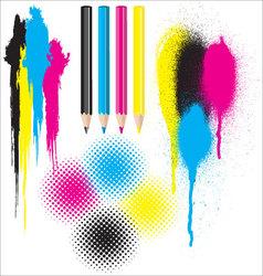 CMYK splatters pencils and halftones vector image vector image
