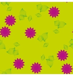 Purple flower with leaves seamless pattern vector image vector image