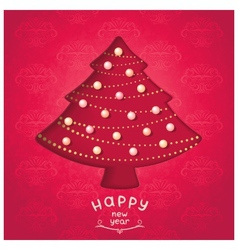 Retro red fir-tree with christmas toys vector image