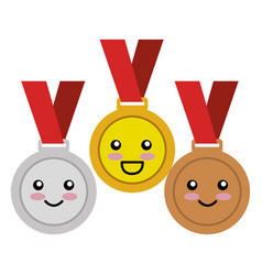 set championship medals comic characters vector image
