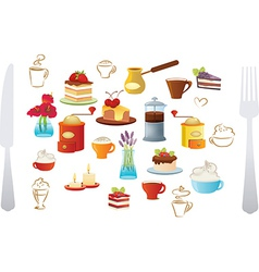 Set of coffee and cake vector image vector image