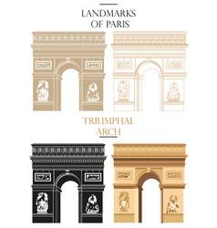 set of triumphal arch landmark of paris vector image vector image