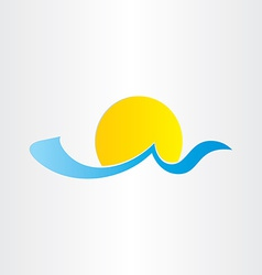 sun and sea wave summer water icon vector image