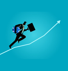 businessman running carrying briefcase and blue vector image vector image