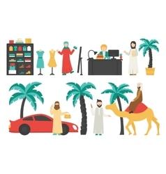 Dubai flat set Isolated On White Background vector image