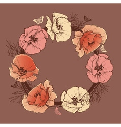 Flower round frame vector image vector image