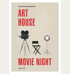 minimalistic poster template for art house movie vector image