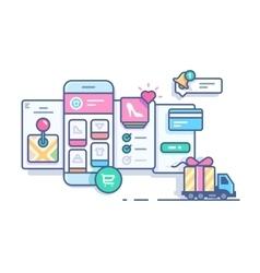 Online mobile shop vector image vector image
