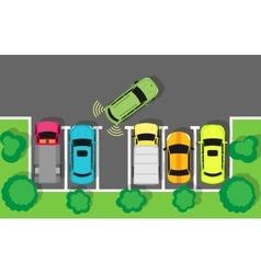 Parking top view web banner in flat design vector