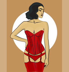 woman with dark hair in red underwear and in a vector image