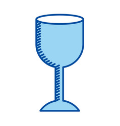 Blue contour of fragile packaging symbol glass vector