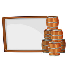 Board template with barrels on side vector