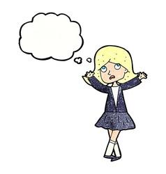 Cartoon unhappy girl with thought bubble vector
