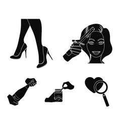 curling hair high heels and other web icon in vector image vector image