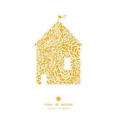 golden lace roses house silhouette pattern frame vector image vector image