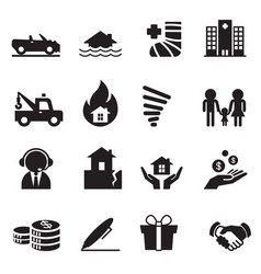 insurance icons symbol set 2 vector image vector image