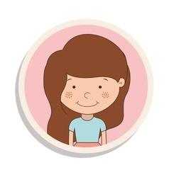round frame with girl of brown hair and t-shirt vector image vector image