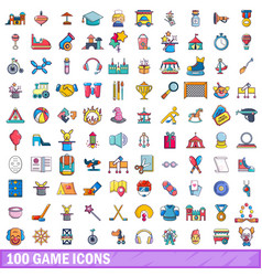 100 game icons set cartoon style vector