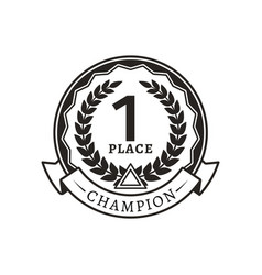 1st place medal for champion monochrome logotype vector