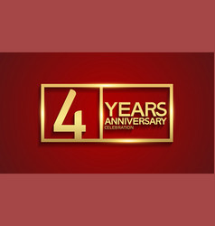 4 years anniversary logotype with golden color vector