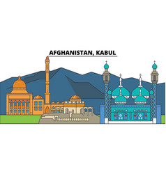 Afghanistan kabul city skyline architecture vector