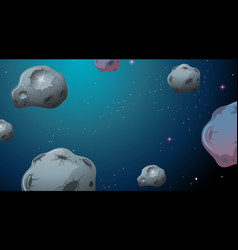 Asteroids in space scene vector